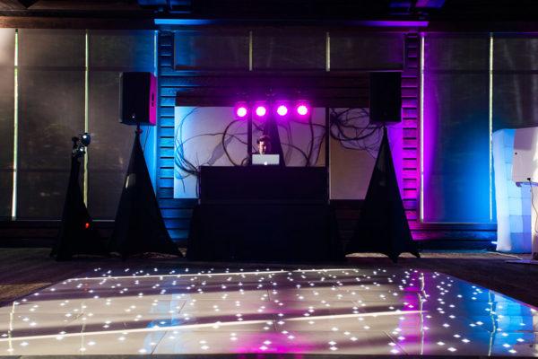 Premier dance floor, DJ and photo booth setup