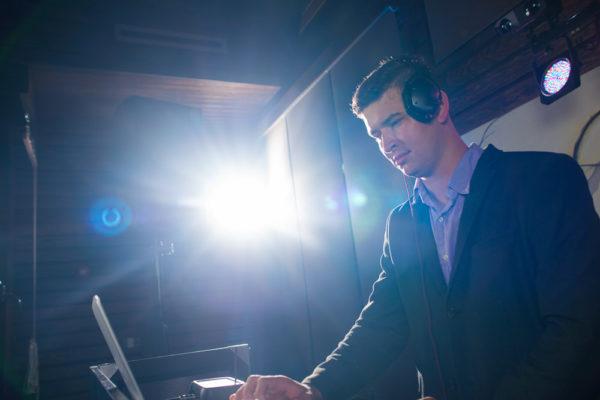DJ Brandon Rolland lining up some tracks