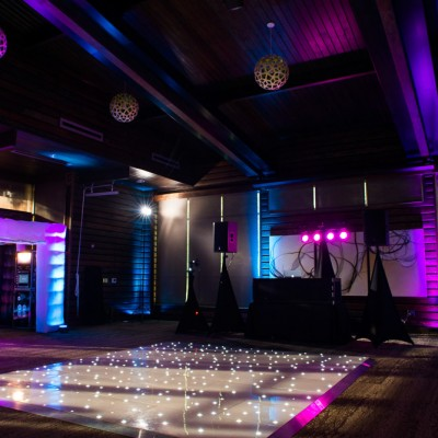 Premier event setup with dance floor, DJ and airbooth