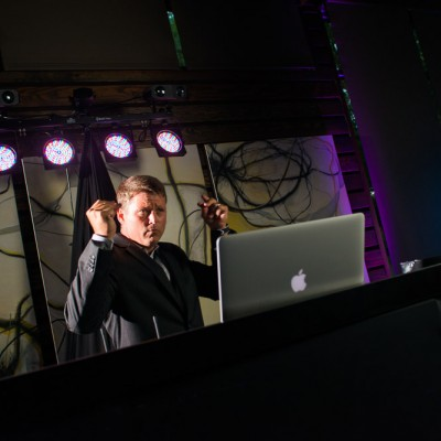 DJ Jason Middleton dancing to the beat